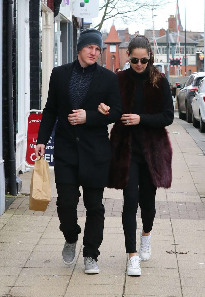 Ana Ivanovic and Bastian Schweinsteiger Leaving Victors Restaurant in Manchester