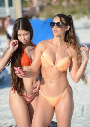 Anais Zanotti and Nicole Caridad in Bikini on the beach in Miami