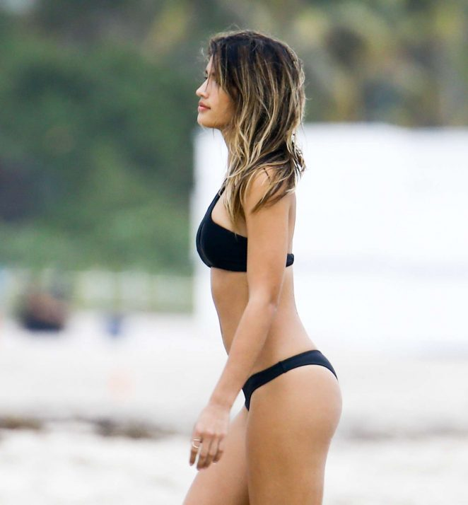 Anastasia Ashley in Black Bikini in Miami