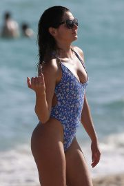Anastasia Ashley in Blue Print Swimsuit on the beach in Miami
