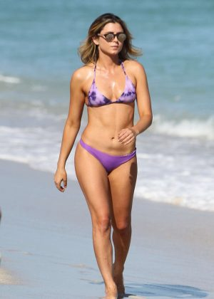 Anastasia Ashley in Purple Bikini on Miami Beach