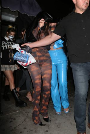 Anastasia Karanikolaou and Kylie Jenner - seen leaving the Nice Guy restaurant in West Hollywood