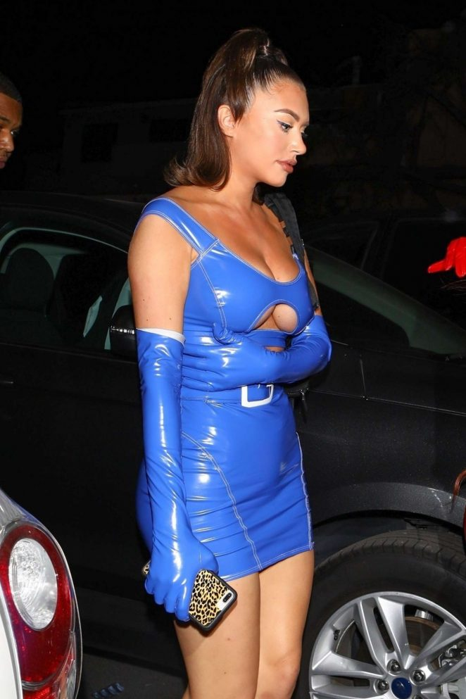 Anastasia Karanikolaou in Blue PVC Dress at Delilah in West Hollywood