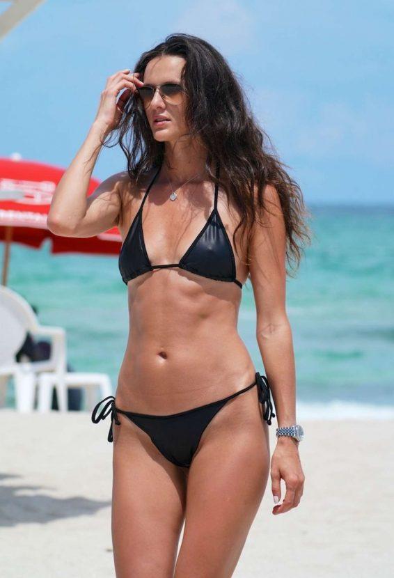 Anastasia Machekhina in Black Bikini at the beach in Miami Beach