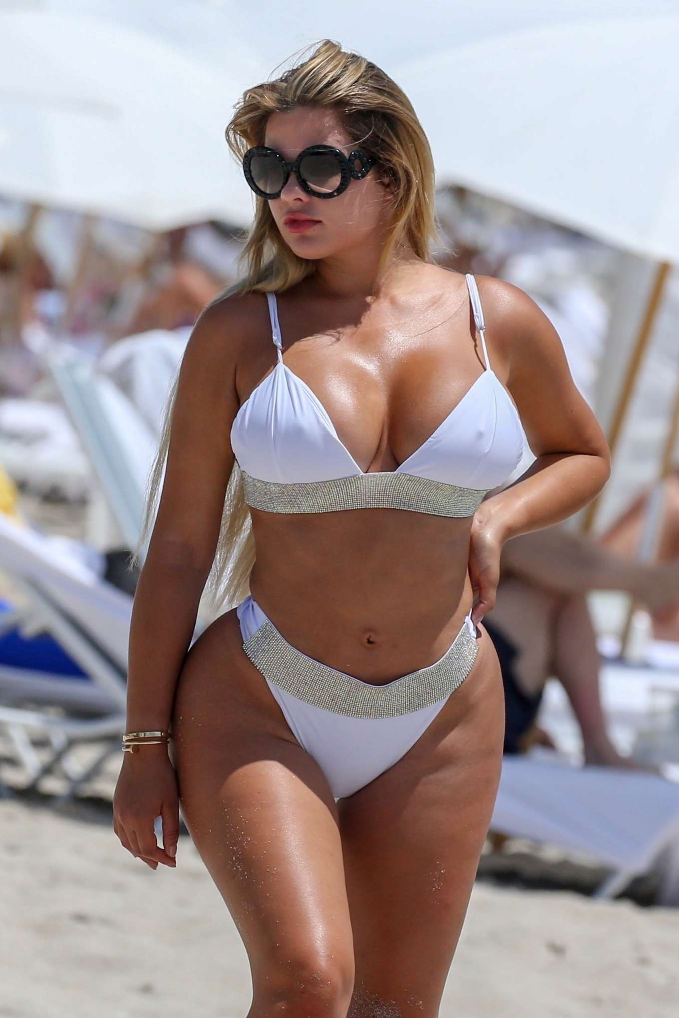 Anastasiya Kvitko in White Bikini at the beach in Miami
