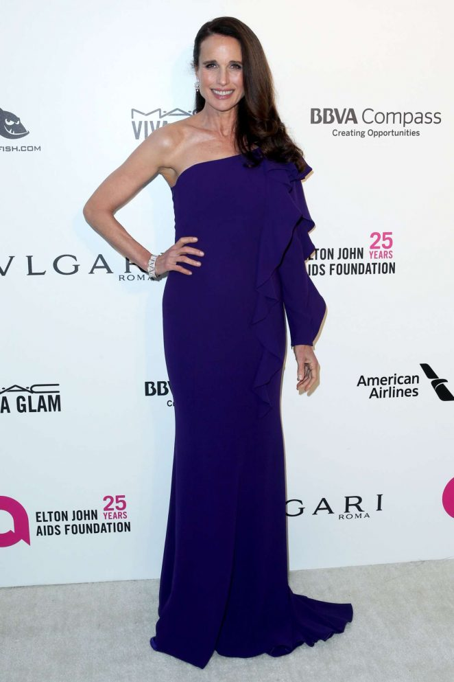 Andie MacDowell - 2018 Elton John AIDS Foundation's Oscar Viewing Party in West Hollywood