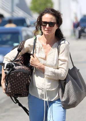 Andie MacDowell out with her dog in Los Angeles