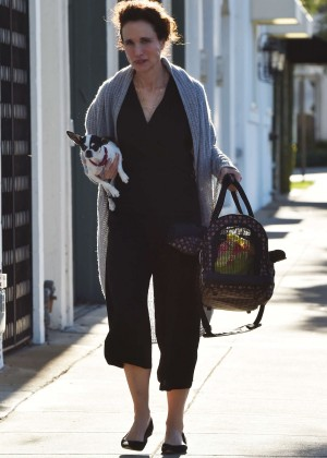 Andie MacDowell With Her Dog out in West Hollywood