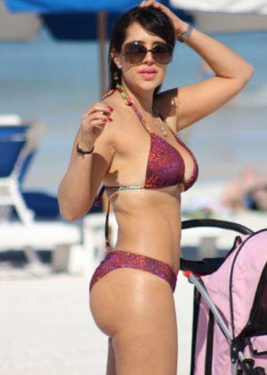 Andrea Calle in Bikini on the beach in Miami