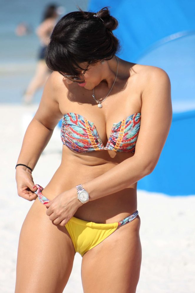 Andrea Calle in Bikini on the beach in Miami