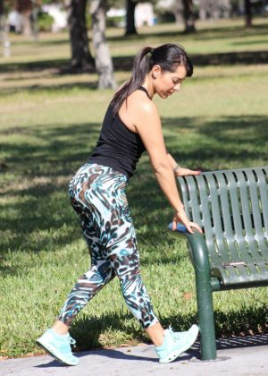 Andrea Calle in Tights Workout in LA