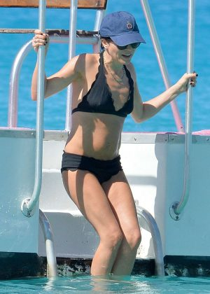 Andrea Corr in Black Bikini at the beach in Barbados