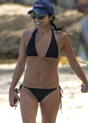 Andrea Corr in Black Bikini at the beach in Barbados