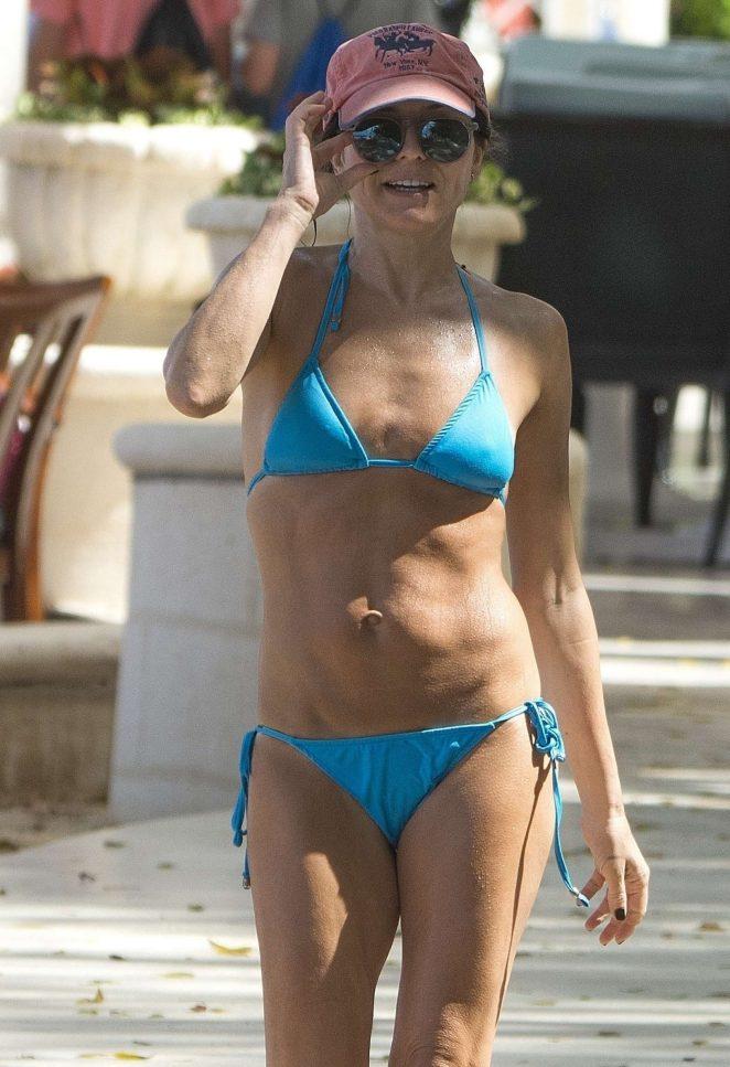 Andrea Corr in Blue Bikini in Barbados