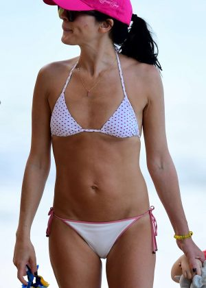 Andrea Corr in White Bikini on a beach in Barbados