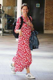 Andrea McLean in Red Long Dress - Outside ITV Studios in London