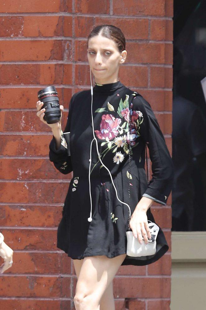 Angela Sarafyan in Black Dress - Shopping in Venice
