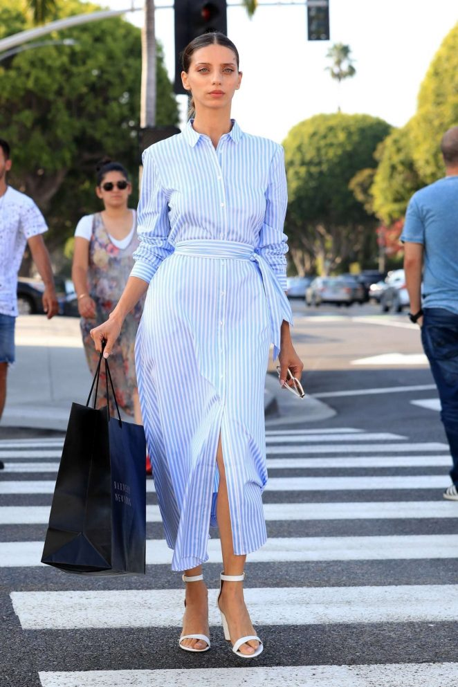 Angela Sarafyan in Blue Dress - Out in Beverly Hills