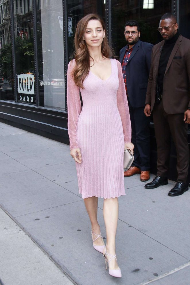 Angela Sarafyan in Pink Dress - Leaves AOL Build in New York