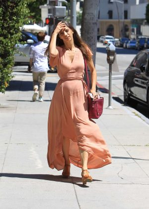 Angela Sarafyan in Long Dress with her boyfriend out in Beverly Hills