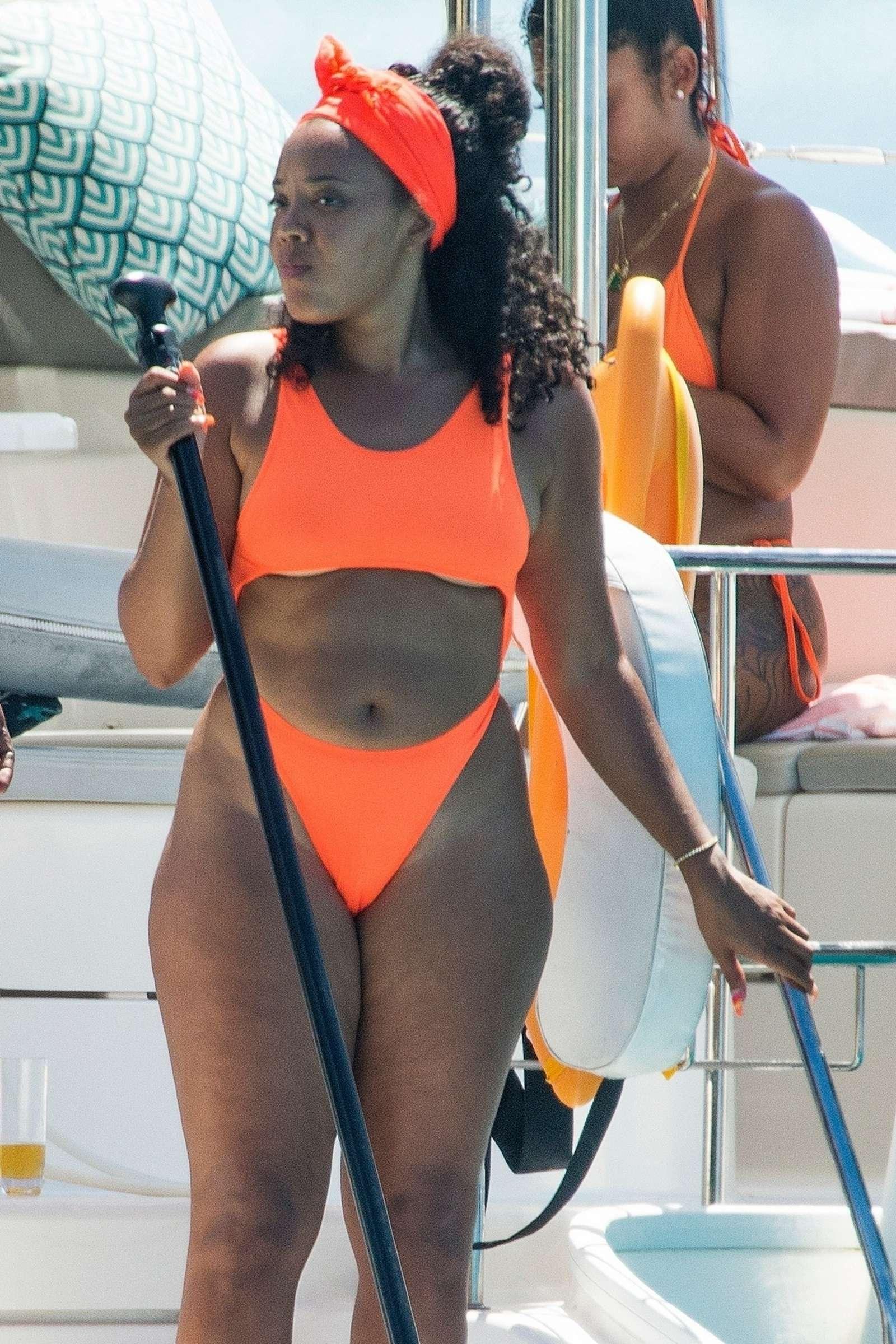 Angela Simmons 2019 : Angela Simmons in Orange Bikini 2019 -09