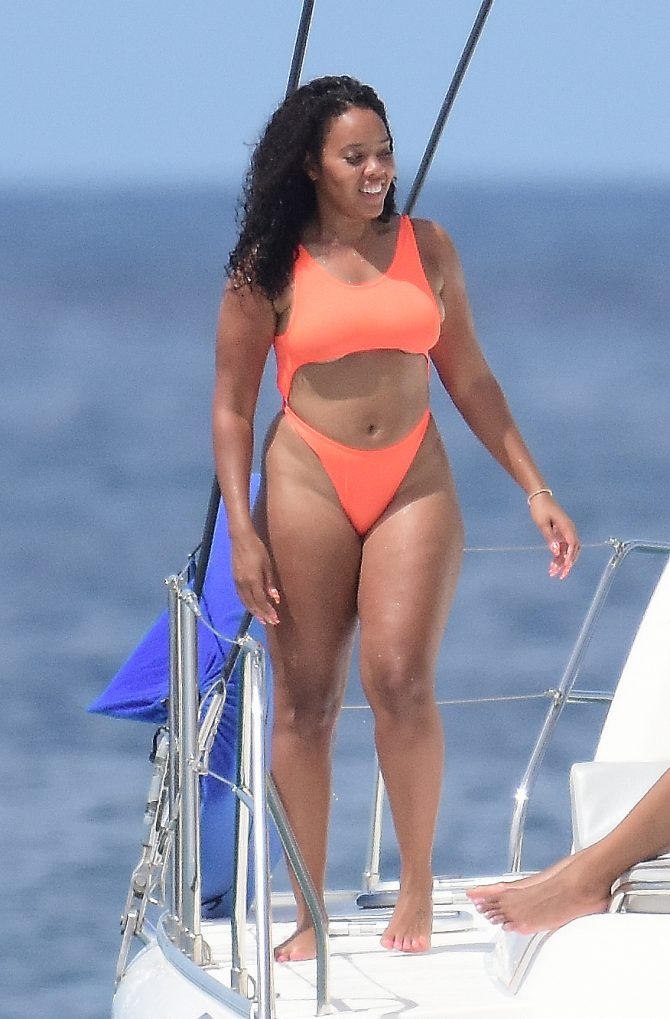 Angela Simmons 2019 : Angela Simmons in Orange Bikini 2019 -10