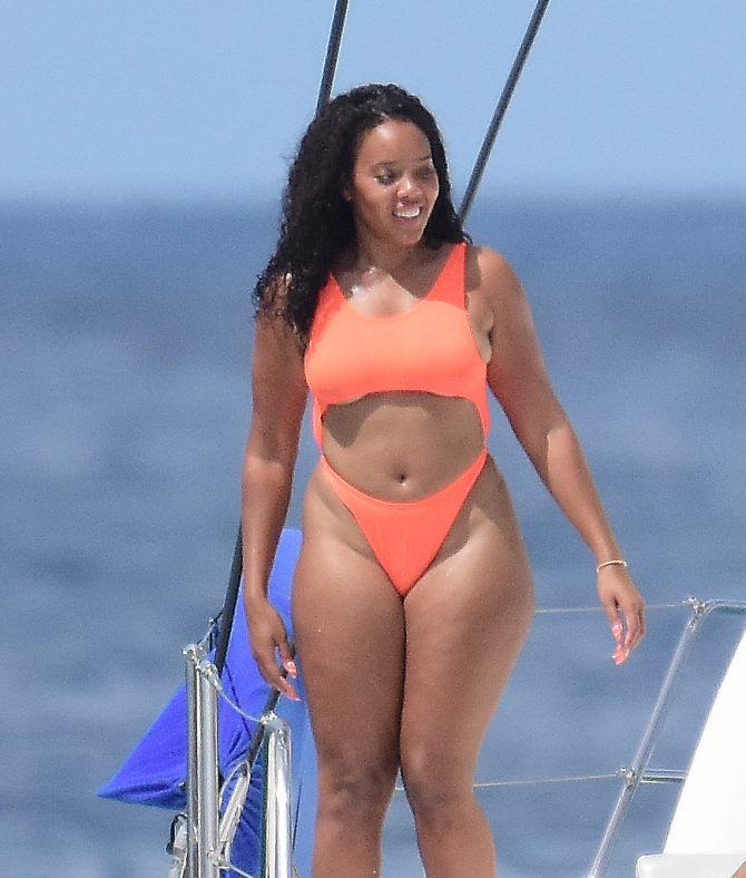 Angela Simmons 2019 : Angela Simmons in Orange Bikini 2019 -11
