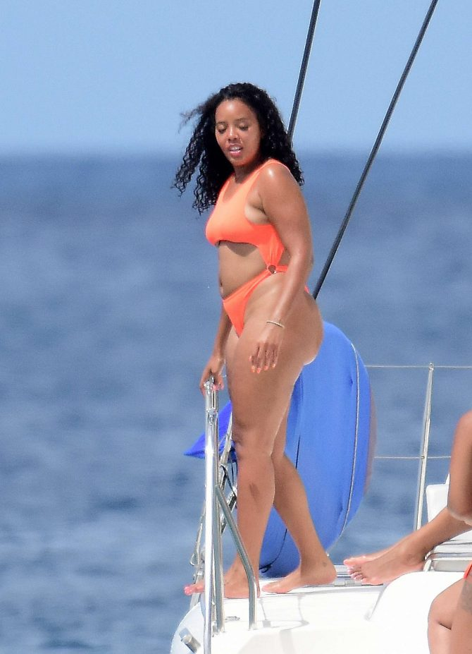 Angela Simmons 2019 : Angela Simmons in Orange Bikini 2019 -13
