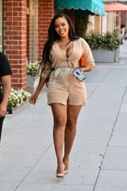 Angela Simmons in Short Shirt Dress - Heads to a medical building in Beverly Hills