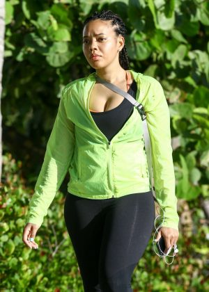 Angela Simmons in tights out in Miami