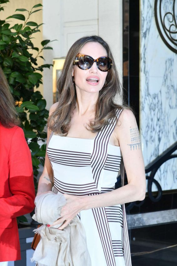 Angelina Jolie and Jacqueline Bisset – Leaving Their Hotel in Paris-03