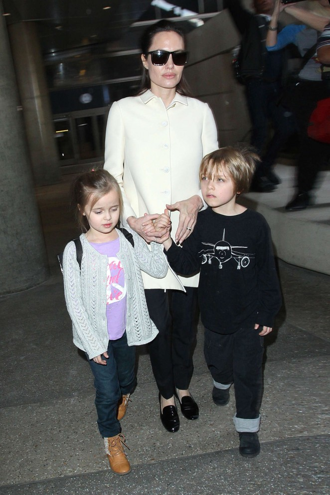 Angelina Jolie with her kids at LAX Airport in LA