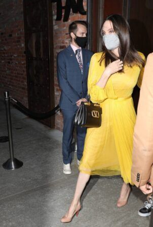 Angelina Jolie - In a yellow dress at TAO on her 46th birthday in L.A.