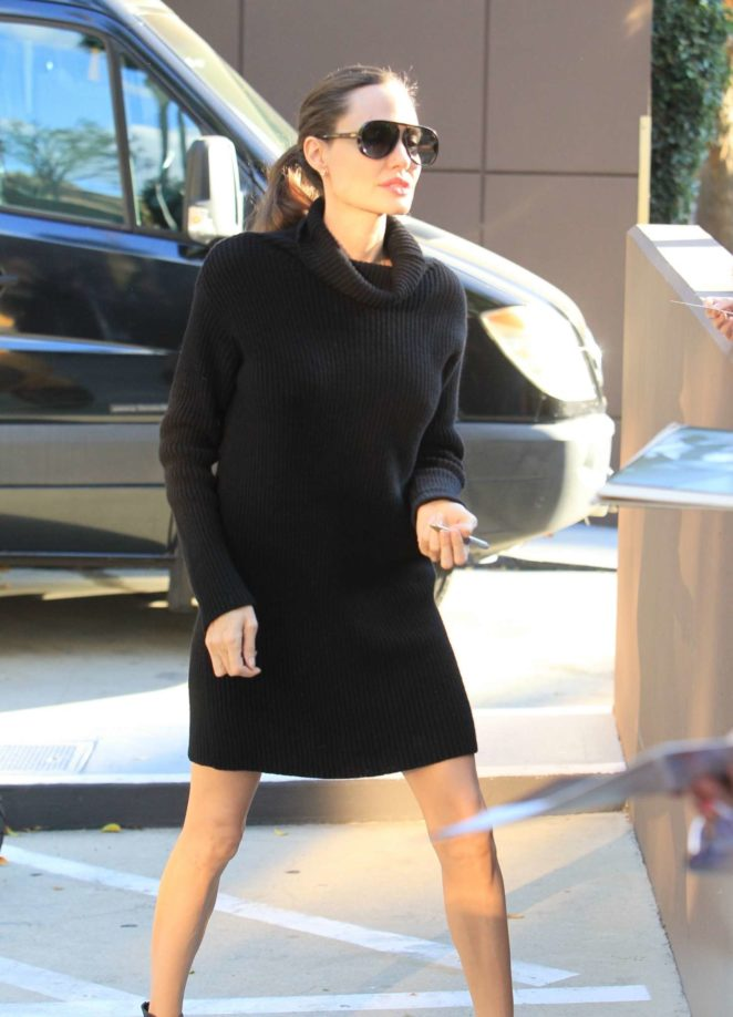 Angelina Jolie in Black Mini Dress out in Hollywood