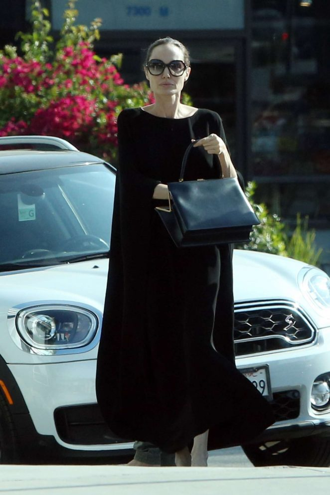 Angelina Jolie in Long Black Dress - Out in Los Angels