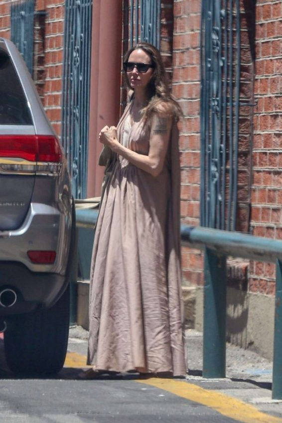 Angelina Jolie in Long Dress - Out in Beverly Hills