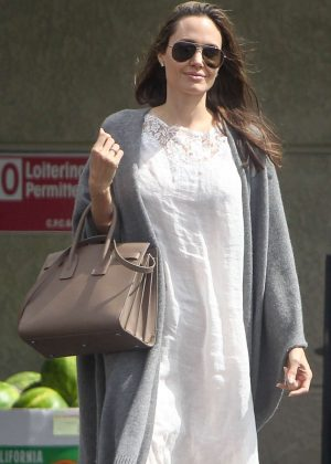 Angelina Jolie in maxi white dress at Gelson's Market in Los Feliz