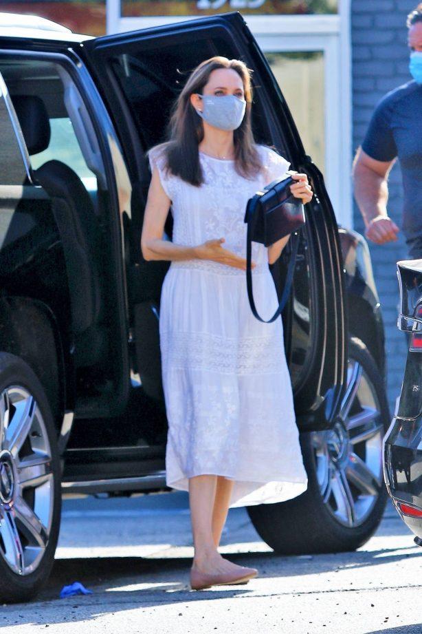 Angelina Jolie in White Dress - Out in Los Feliz