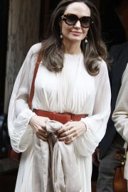 Angelina Jolie in White Outfit - Out in Paris