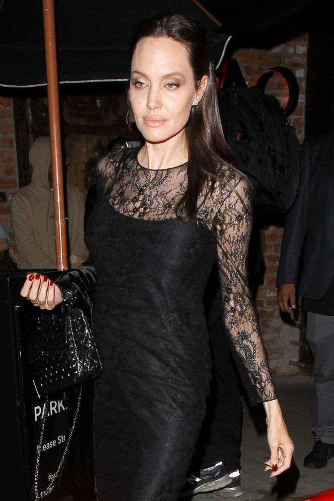 Angelina Jolie Leaving TAO Beauty & Essex in West Hollywood
