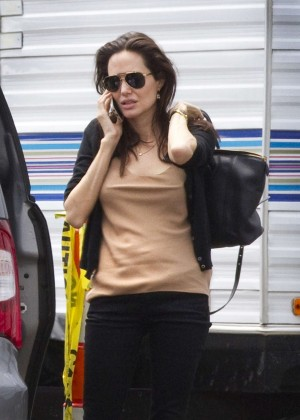 Angelina Jolie out in New Orleans