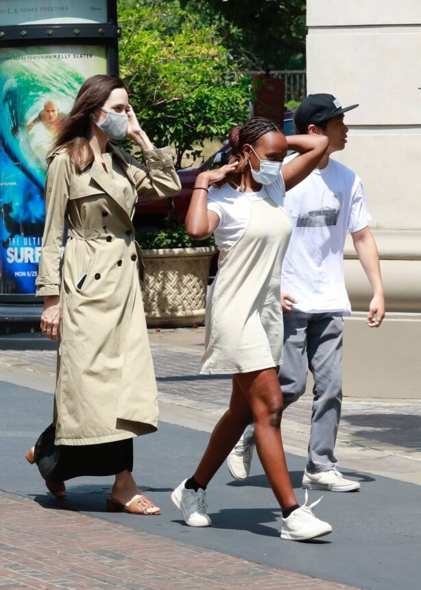 Angelina Jolie - Shopping candids with Zahara and Pax at Nordstrom at The Grove in Los Angeles