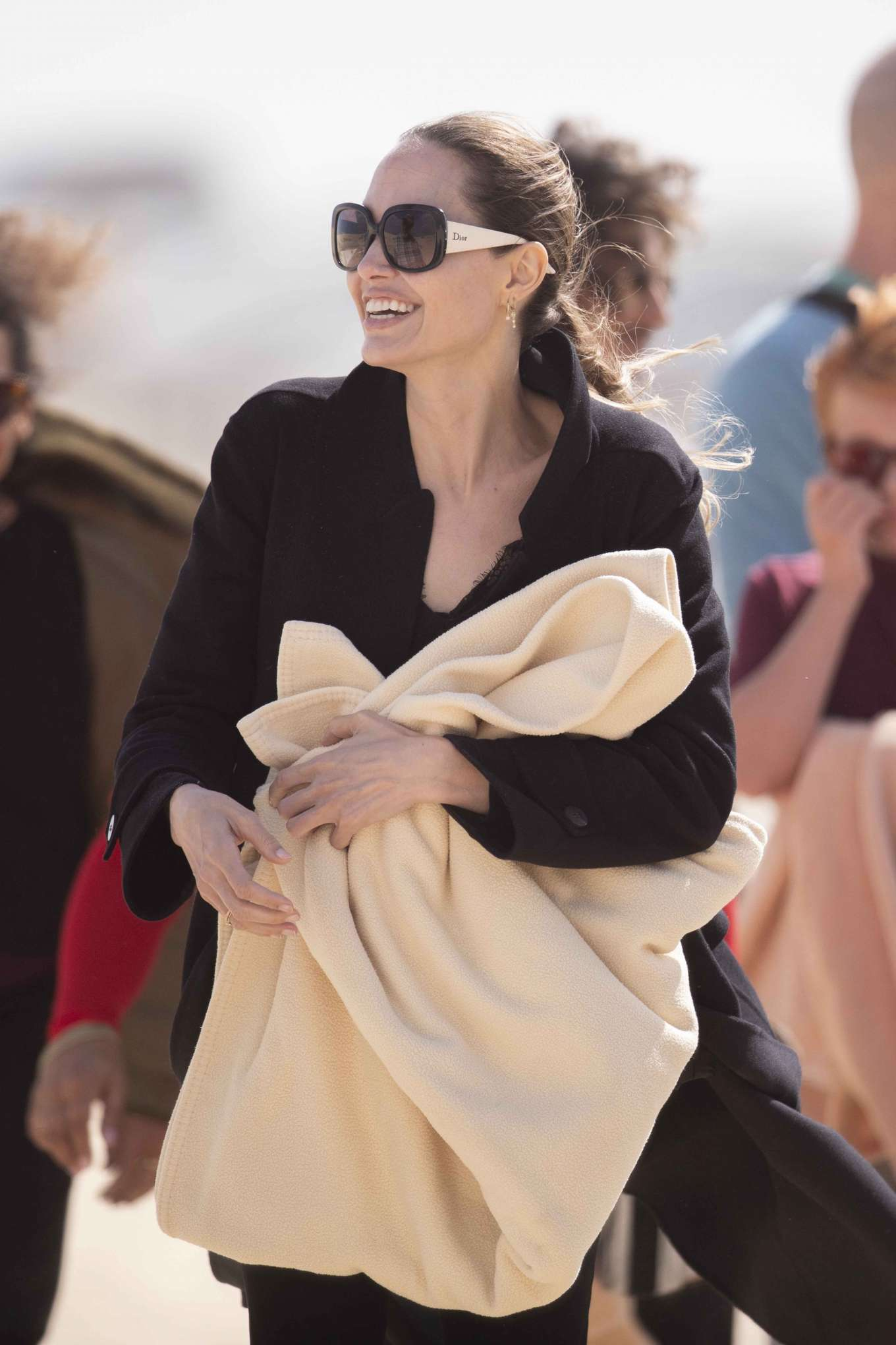Angelina Jolie 2019 : Angelina Jolie – Take a break from filming on the beach in Fuerteventura-05