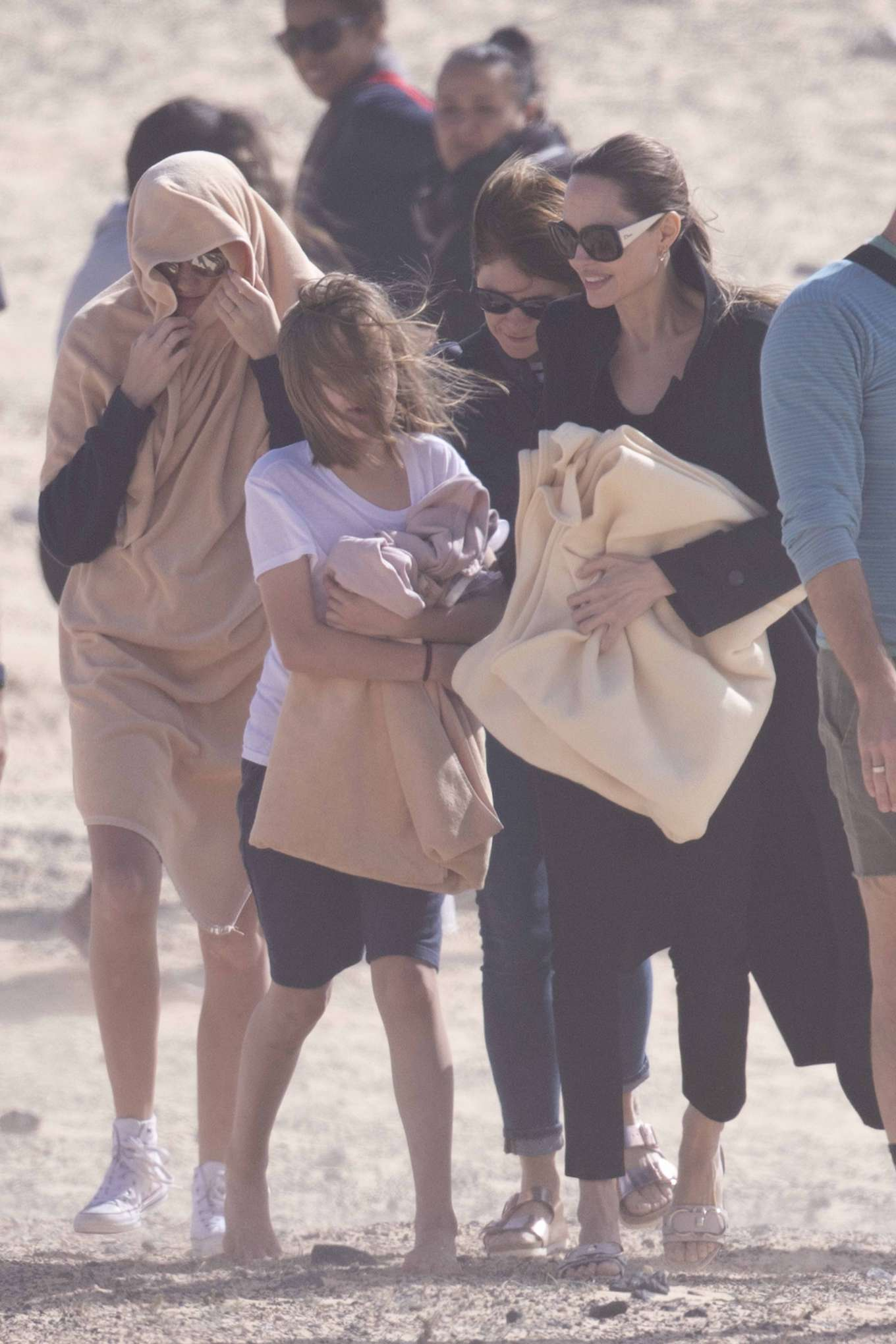 Angelina Jolie 2019 : Angelina Jolie – Take a break from filming on the beach in Fuerteventura-07