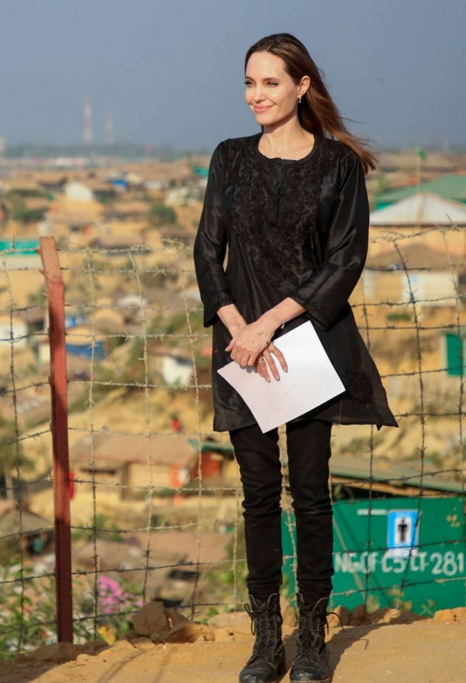 Angelina Jolie – UNHCR special envoy to Kutupalong Rohingya refugee camp in Bangladesh