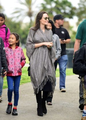 Angelina Jolie With Children at Disneyland Park in California