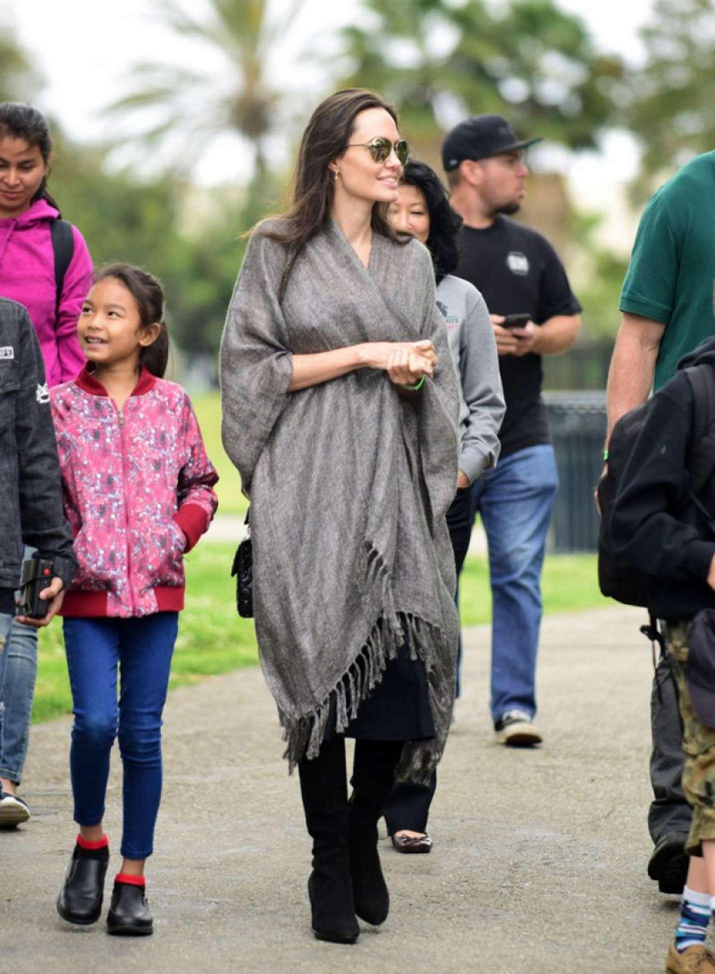 Angelina Jolie With Children at Disneyland Park in California
