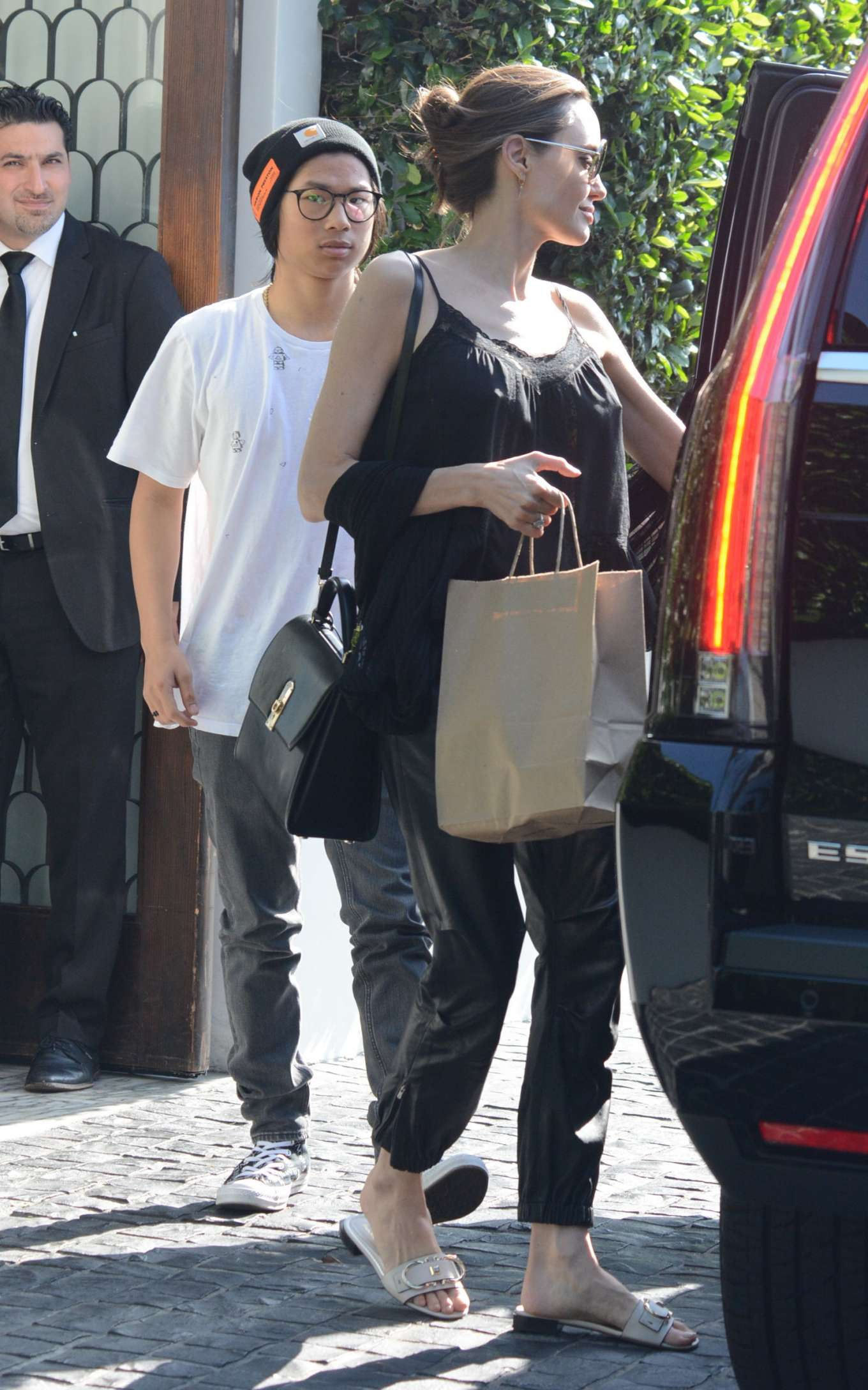 Angelina Jolie with Pax out for lunch at Cecconi's in LA