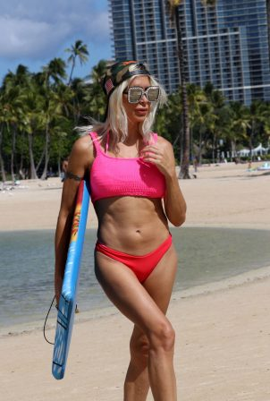 Angelique 'Frenchy' Morgan - In a bikini on Waikiki Beach - Hawaii