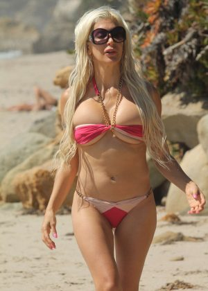 Angelique Frenchy Morgan in Bikini on the beach in Malibu